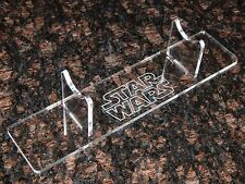 Laser Cut Acrylic Light saber display stand holder with engraved Star Wars image