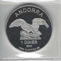 Andorra 1 Diner, 2013, Proof .999 Silver