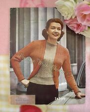 Vintage 1950s Lady's Twin Set Knitting Pattern Of Lace Panel Cardigan & Jumper.