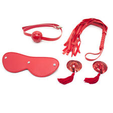 KIT BONDAGE SEXE BDSM SM BALL GAG FOUET MASQUE SEX WHIP MASK RED