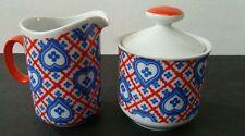 Taste Setter Collection Patchwork. Hearts Creamer & Sugar Bowl with Lid Vintage