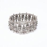 Tibetan Silver Crystal Beads Bracelet Cuff Tribal Vintage Gypsy Boho Jewelry