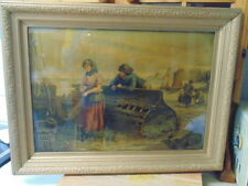 LARGE RARE ANTIQUE OIL A GRAPH JOHN DRUMMOND SOLID WOOD FRAME FISHING SEA THEME