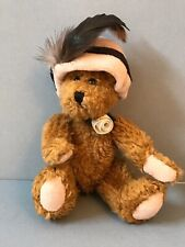 "7"" Boyds Collection Handmade Stuffed Animal Teddy Bear Hat Feather Rose Necklace"