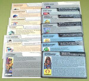 GI Joe Cobra UNCUT FILE CARD LOT of 14 different Heavy Metal Cobra Commander JTC