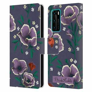 OFFICIAL FRIDA KAHLO FLOWERS LEATHER BOOK CASE FOR HUAWEI PHONES