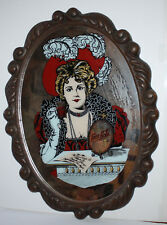 Vintage Coke Coca Cola Sign Mirror Old Fashioned Wood Like Frame Oval Woman 859