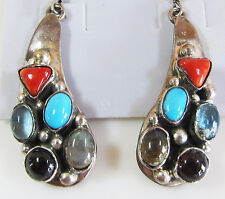 "Mixed gemstone cabochon drop earrings, sterling silver, 2"" long"