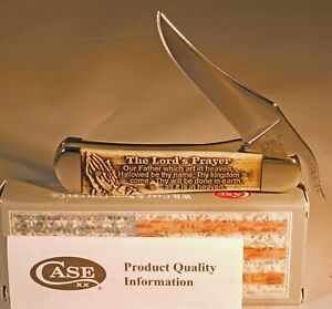 Case xx Russlock Knife Scrolled Natural Bone Lord's Prayer Pocket Knives
