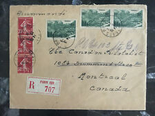 1938 paris France Registered cover to Montreal Canada Red Wax Seal