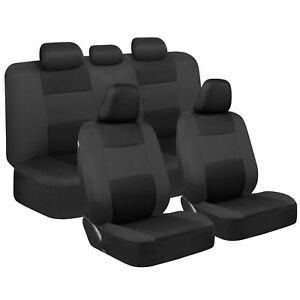 Black Gray Car Seat Covers Full Set Front & Rear Bench for Auto Truck SUV