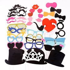 44PCS Colorful Props On A Stick Mustache Photo Booth Party Fun Wedding Favor ED