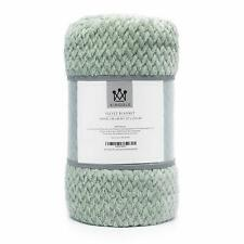 Kingole Flannel Fleece Luxury Throw Blanket, Laurel Green Travel/Throw Size Jacq
