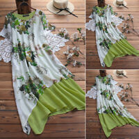 ZANZEA 8-24 Women Long Midi Sundress Kaftan Caftan Abaya Printed Floral Dress