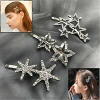 Women Bling Crystal Rhinestone Star Hair Clip Barrette Stick Hairpins Headwear