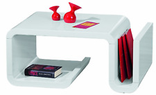 Designer Large Modern High Gloss White Coffee Table Magazine Rack & Storage