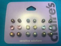 Nine Pairs Of Claire's Rhinestone And Ball Pierced Earrings New
