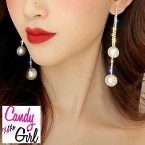 Silver Crystal Diamante Pearl Long Rhinestone Strip Statement Fashion Earrings