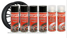 JET BLACK ALLOY WHEEL SPRAY PAINT x 4 CLEAR COAT x 2 GTPRO 6 CANS QUALITY