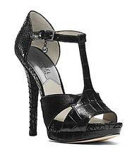Michael Kors Nadjat Black Embossed Leather Heels Women Size 9.5 M