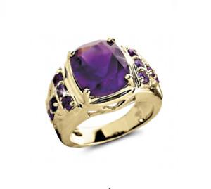14K Yellow Gold Natural Amethyst Gem Stone Wonderful Men's Ring