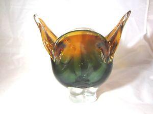 sommerso cats head art glass bowl STUNNING green & orange Josef Hospodka