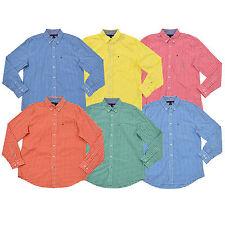 Tommy Hilfiger мужской рубашка классический покрой воротник в мелкую клетку с длинным рукавом повседневные новые