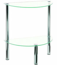 Mesa auxiliar en tubo d'acero Vidrio templado cromado - L45 x P22 x H47 cm