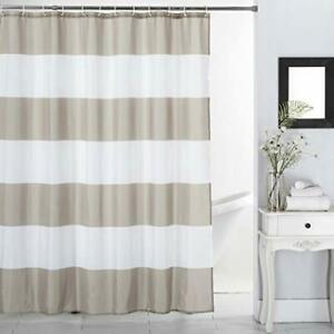 Shower Curtain Taupe Stripes Polyester Bathroom Curtain Waterproof Taupe