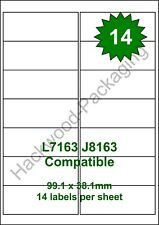 14 Labels per Sheet x 100 Sheets L7163 / J8163 White Matt Copier Inkjet Laser