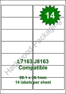 14 Labels per Sheet x 100 Sheets White Matt Copier Inkjet Laser