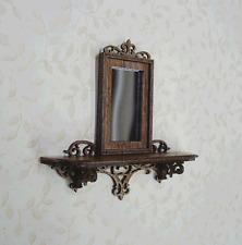 Dollhouse Miniature  1:12  walnut fretwork mirror - Artist Made Furniture