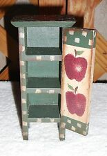 DOLL HOUSE MINIATURES~Kitchen Pantry~Wood~Hand Painted~Apple Design~3 Shelf~FREE