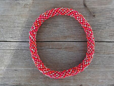 Shimmering Red and Silver Crocheted Bead Bracelet,Czech Seed Beads,Nepal, PB314,