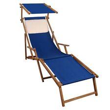 Chaise Longue Bleu Lit Soleil de Plage Coussin Toit Ouvrant 10-307 FS Kh