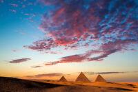 Sunset at the Pyramids Giza Cairo Egypt Photo Art Print Poster 18x12