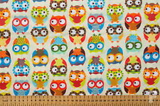 100% COTTON NOVELTY PRINTS - BRIGHT OWLS ON CREAM BACKGROUND - WIDE WIDTH