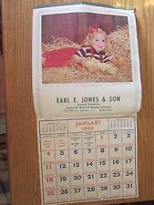 Vintage 1953 Earl E. Jones & Son Herkimer, NY Advertising Calendar Shaw-Barton