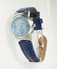 Youngblood Women's St Croix Watch Blue Leather Analog MOP Dial