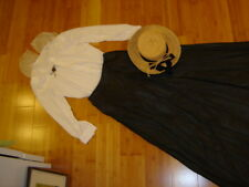 School Marm 2 pc white blouse black skirt straw hat M Steampunk Victorian costme