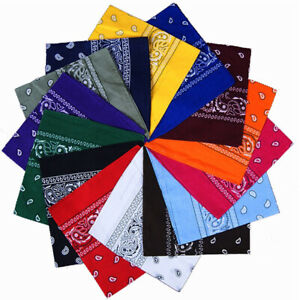 Cotton Head Wrap Cotton Dacron Paisley Bandanas Double Sided Scarf 22 Colors ca