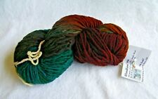 "1 Skein Farmhouse Yarns ""Woodland Spun"" Brown Teal S-Bulky 100% Lamb's Wool Yarn"