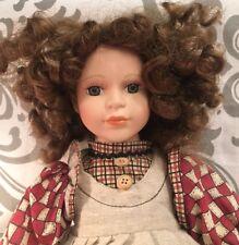 "Curly Brown Auburn Hair Green Eyes 16"" Porcelain Doll Seymour Mann Connoisseur"