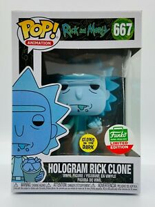 FUNKO POP HOLOGRAM RICK CLONE & MORTY CYBER MONDAY LIMITED SHOP EXCLUSIVE