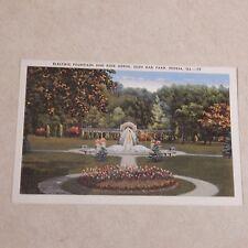 Vintage Postcard Electric Fountain And Rose Arbor, Glen Oak Park Peoria Ill. #2