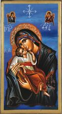 Handmade Wooden Greek Christian Orthodox Wood Icon Virgin Mary Jesus Christ OG