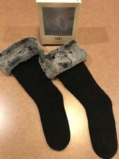 NEW UGG WOMEN KNEE HIGH CUFFED TALL BOOT FAUX FUR SOCKS BLACK GREY SIZE 5-10 $59