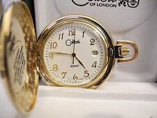 COLIBRI WHITE FACE GOLDTONE POCKET WATCH DATE NEW
