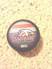 OHL SAGINAW SPIRIT OFFICIAL HOCKEY GAME PUCK  + FREE PUCK CASE