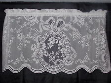 HERITAGE LACE WHITE AINSLEY DESIGN TIER CURTAIN NIP 30LX60W  ITEM 7031